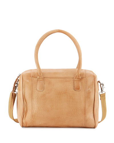 Yuma Leather Satchel Bag W/Cosmetics Pouch, Camel