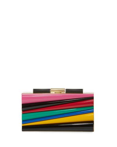 Sinila Lacquered Minaudiere Clutch Bag, Multicolor