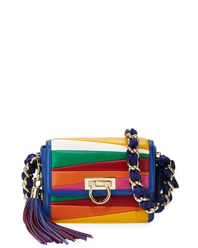 Solaria Small Leather Crossbody Bag, Blue Denim Multi