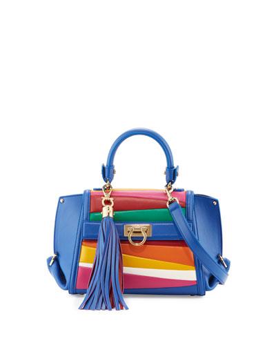 Sofia Small Striped Top-Handle Bag, Blue Denim