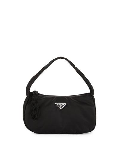 Nylon Small Zip-Top Hobo Bag, Black (Nero)