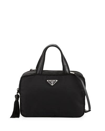 Small Double-Handle Nylon Tote Bag, Black