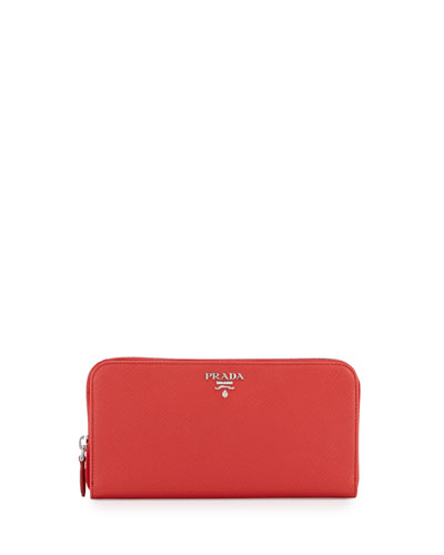 Metal Oro Saffiano Zip Wallet, Red (Lacca)
