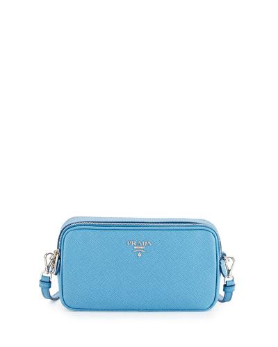 Saffiano Mini Crossbody Bag, Light Blue (Mare)