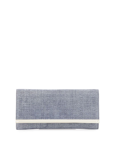 Milla Denim Clutch Bag, Indigo