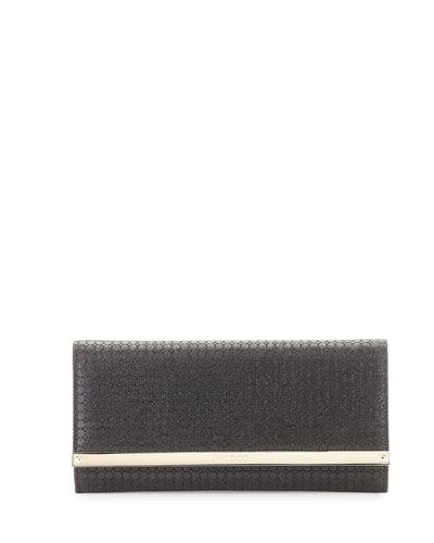 Milla Glitter Fabric Clutch Bag, Black