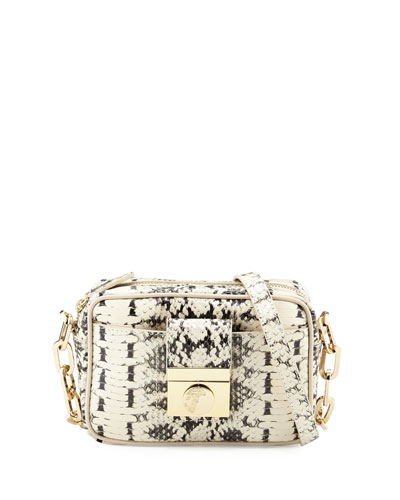 Snake-Embossed Leather Crossbody Bag, Beige