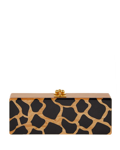 Flavia Giraffe Box Clutch Bag, Camel