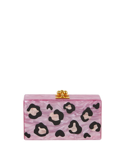 Jean Leopard Box Clutch Bag, Mauve
