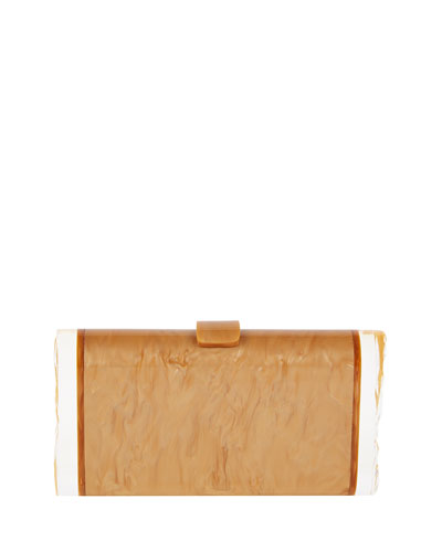 Lara Backlit Acrylic Clutch Bag, Camel