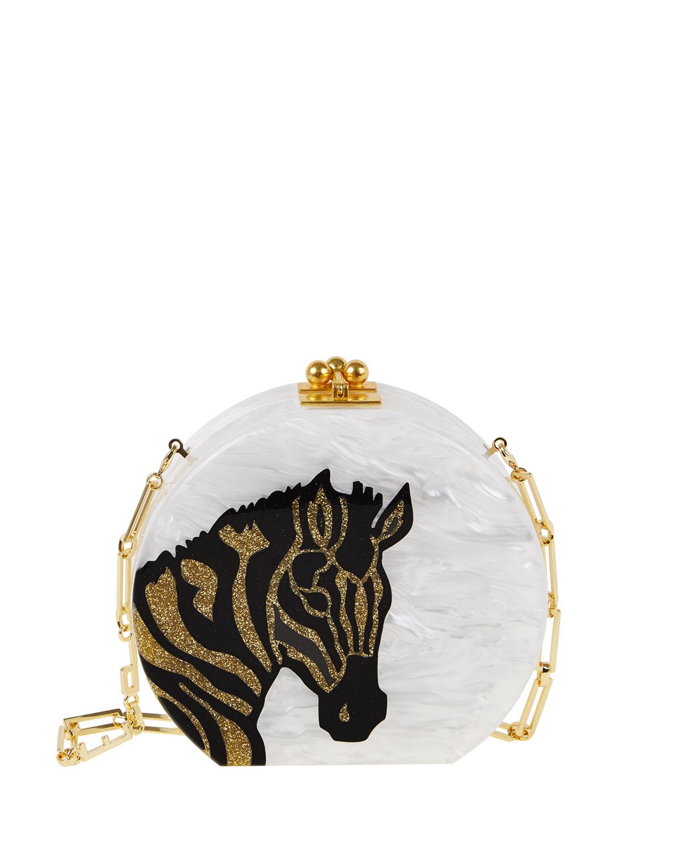 Oscar Round Zebra Clutch Bag, White