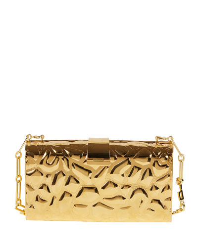 Rebekah Metal Giraffe-Pattern Clutch Bag, Golden