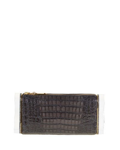 Soft Lara Crocodile Clutch Bag, Steel