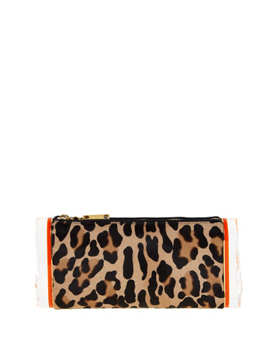 Soft Lara Leopard-Print Calf Hair Clutch Bag, Multicolor