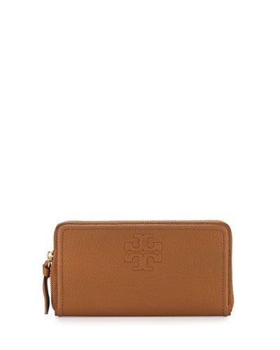 Thea Leather Multi-Gusset Zip Wallet, Tan