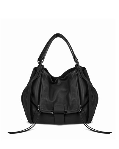 Jonnie Leather Tote Bag, Black