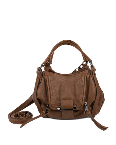 Jonnie Mini Leather Crossbody Bag, Caramel