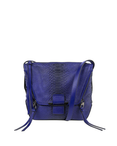 Gwenyth Leather Shoulder Bag, Cobalt