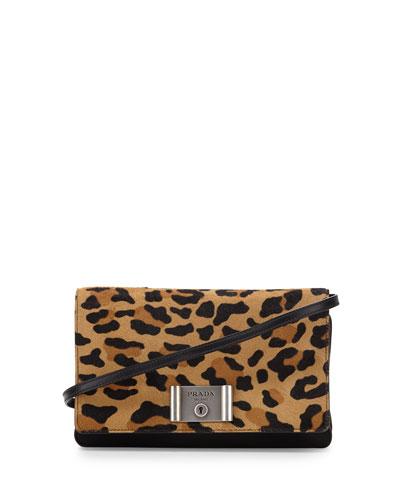 Calf-Hair Flap Clutch Bag, Leopard