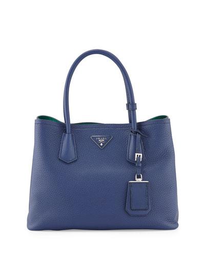 Vitello Daino Small Double Tote Bag, Royal/Teal (Reale/Ottanio)