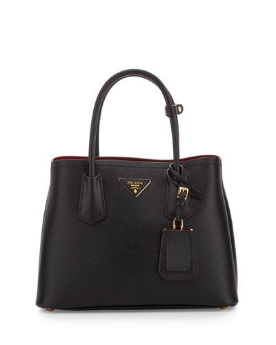 Saffiano Cuir Double Mini Tote Bag, Black/Red (Nero+Rosso)