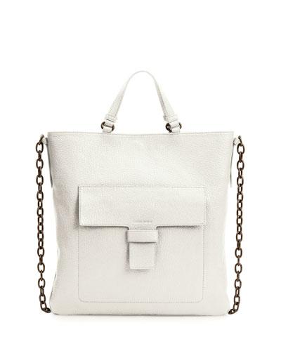 Madras Front-Pocket Tote Bag, White