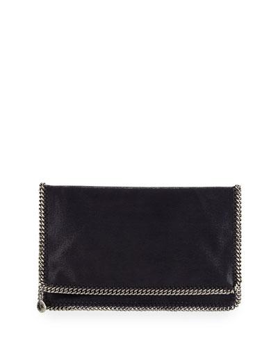 Falabella Fold-Over Evening Clutch Bag, Navy