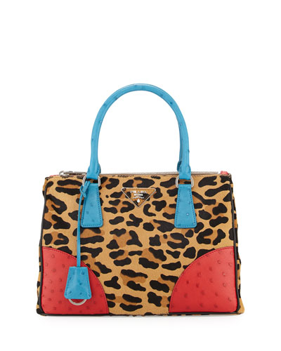 Calf Hair & Ostrich Small Double Tote Bag, Leopard/Blue/Red (Miele+Voya)