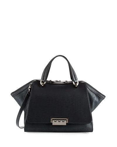 Eartha Iconic Zip-Top Satchel Bag, Black