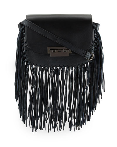 Eartha Iconic Accordion Crossbody Bag, Black Fringe