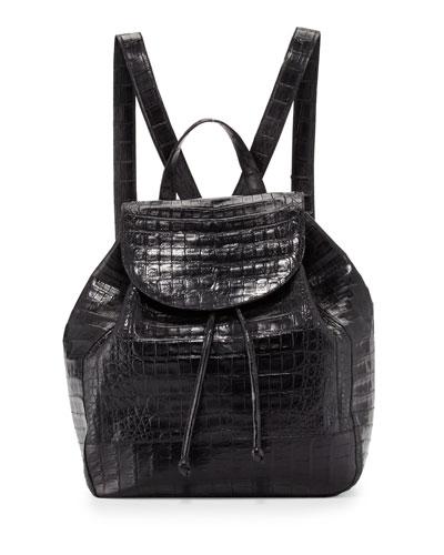 Crocodile Drawstring Backpack, Black Matte