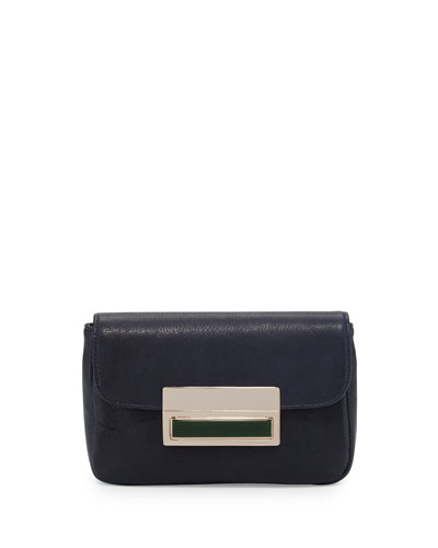 Iris Leather Clutch Bag, Navy
