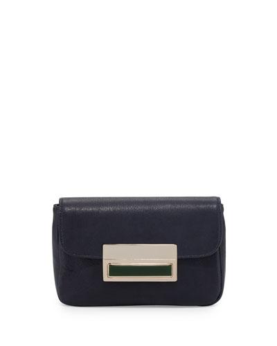 Iris Leather Clutch Bag, Navy