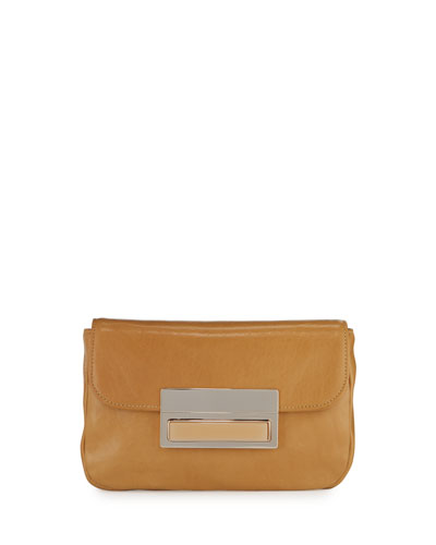 Iris Leather Clutch Bag, Camel
