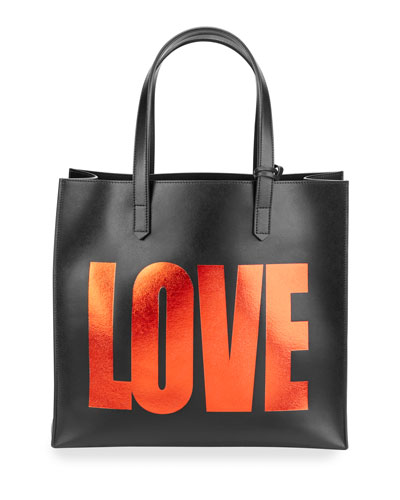 Leather Love Tote Bag w/ Pouch, Black/Red