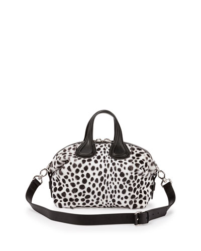 Nightingale Small Dalmatian-Print Satchel Bag, Black