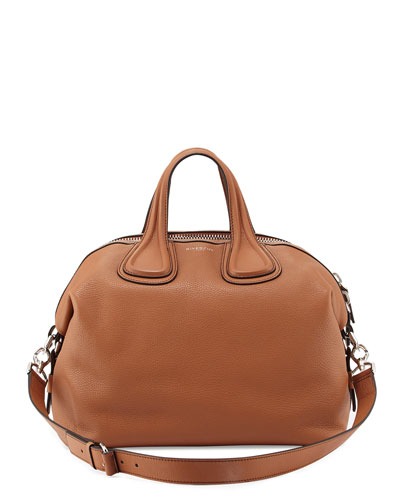 Nightingale Medium Waxy Leather Satchel Bag, Caramel