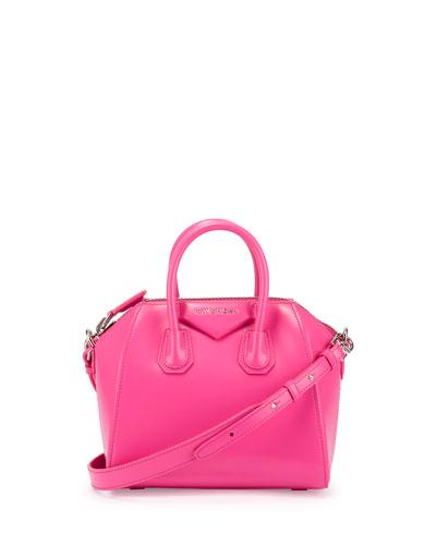 Antigona Mini Box Calfskin Satchel Bag, Bright Pink
