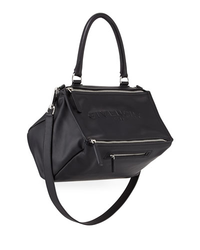 Pandora Medium Debossed Leather Satchel Bag, Black