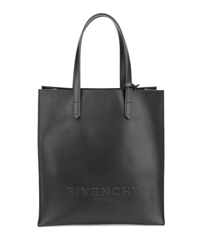 Debossed Leather North-South Tote Bag, Black