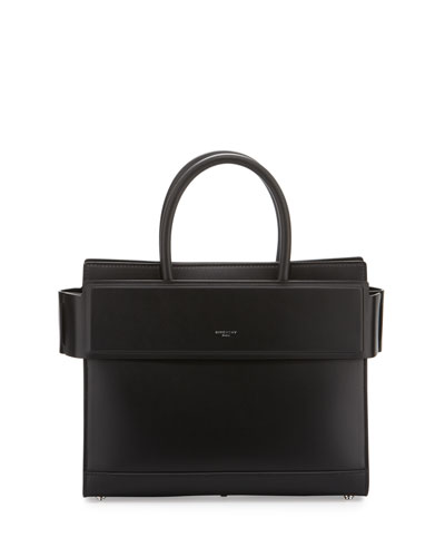 Horizon Small Leather Satchel Bag, Black
