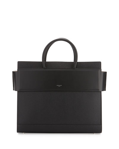 Horizon Medium Textured Leather Satchel Bag, Black