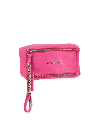 Pandora Leather Wristlet Pouch Bag, Bright Pink