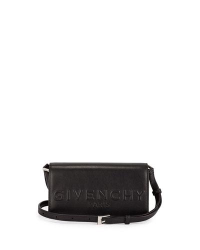 Debossed Leather Crossbody Bag, Black