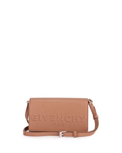 Debossed Leather Crossbody Bag, Light Pink