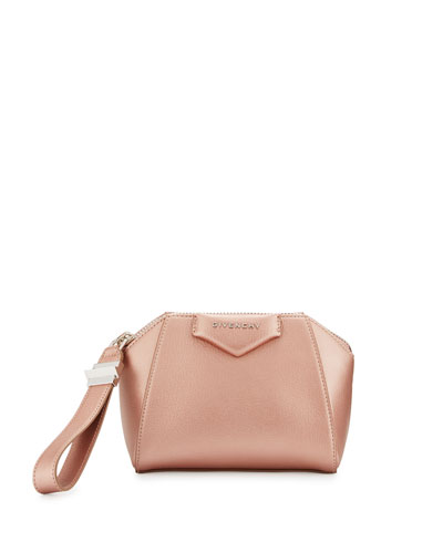 Antigona Small Metallic Leather Wristlet Bag, Champagne