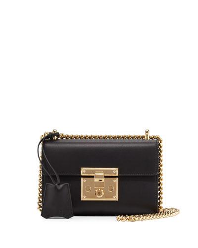 Padlock Leather Small Shoulder Bag, Black