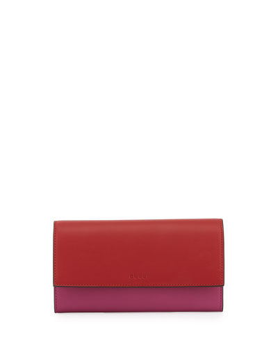 Contrast Leather Continental Wallet, Rosette/Hibiscus
