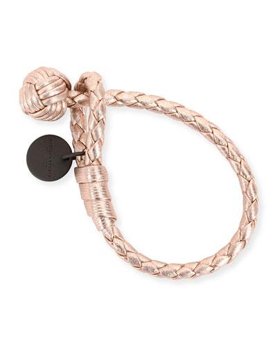 Intrecciato Single-Knot Grosgrain Bracelet, Rose Gold
