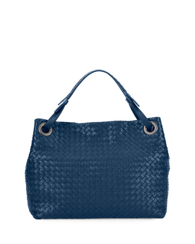 Medium Intrecciato Shoulder Bag, Cobalt Blue